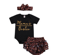 Baby Girls Black and  Leopard Romper Set with Matching Headband
