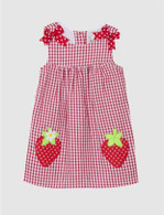 Red Check Seersucker Dress W. Strawberries
