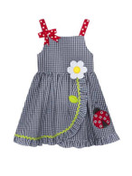 Navy Check Seersucker Ruffle Dress W. Ladybug
