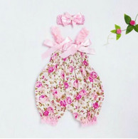 Baby Girl Floral Romper Jumpsuit with Headband