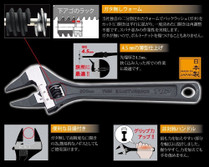 Shifter Adjustable wrench THIN JAW made in Japan