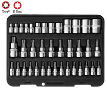 38pc Torx and E socket bit set