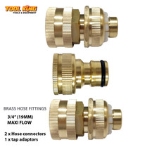 "Brass Garden Hose fitting set 3pc 3/4"" 19mm  Maxi flow"