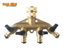 """4way Garden Tap Manifold  Brass to suit 1/2"""" Garden hose"""