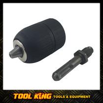 Keyless drill chuck with SDS shank adaptor