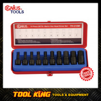 10pc IN HEX Hex bit socket set MET 3/8Dv Genius tools