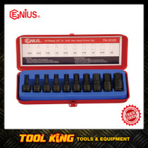 10pc IN HEX Hex bit socket set SAE 3/8Dv Genius tools