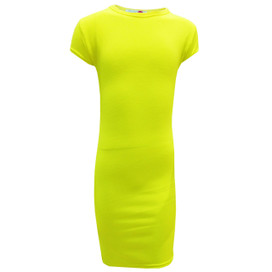 Minx Girls Bodycon Style Neon Yellow Midi Dress Neon Yellow 7-13 Years