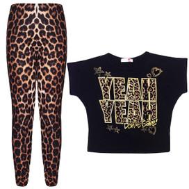 Minx Girls Yeah Yeah Crop Top And Leopard Print Leggings Black And Brown 7-13 Years