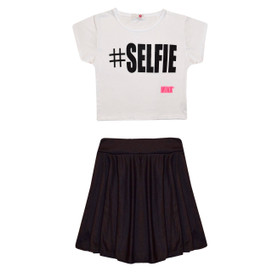 Minx Girls Selfie Crop Top & Skirt Set Black/White 7-13 Years