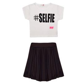 Minx Girls Selfie Crop Top & Skirt Set Black/White 7-13 Years
