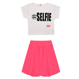 Minx Girls Selfie Crop Top & Skirt Set Neon Pink/White 7-13 Years