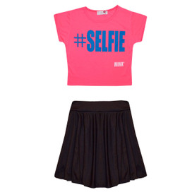 Minx Girls Selfie Crop Top & Skirt Set Black/Neon Pink 7-13 Years