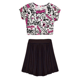 Minx Girls Scrible Crop Top & Skirt Set Black/Cream 7-13 Years