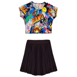 Minx Girls Comic Crop Top & Skirt Set Black/Multi 7-13 Years