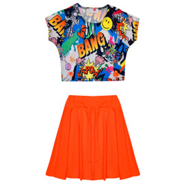 Minx Girls Comic Crop Top & Skir Set Neon Orange/Multi 7-13 Years