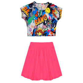 Minx Girls Comic Crop Top & Skirt Set Neon Pink/Multi 7-13 Years