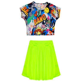 Minx Girls Comic Crop Top & Skirt Set Neon Yellow/Multi 7-13 Years