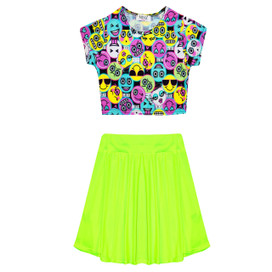 Minx Girls Emoji Print Crop Top Skirt Set Multi/Neon Yellow 7-13 Years
