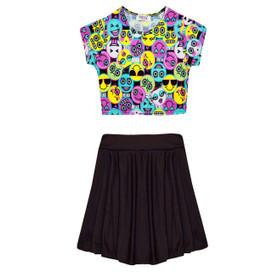 Minx Girls Emoji Print Crop Top Skirt Set Multi/Black 7-13 Years