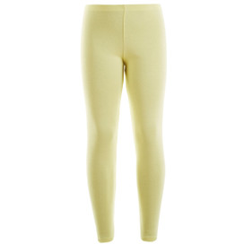 Girls Leotard Legging Cotton Stretch Full Length School Leggings Kids Stretch Leggings Yellow Size 2-13