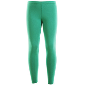 Girls Leotard Legging Cotton Stretch Full Length School Leggings Kids Stretch Leggings Green Size 2-13