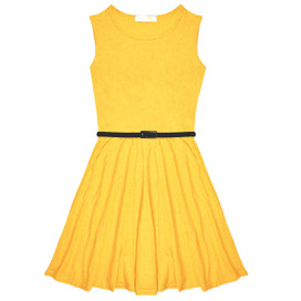 Minx Girls New Plain Fitted Flared Belt Dress Kids Plain Sleeveless Girls Skater Dress Yellow  Age 7-13 Years