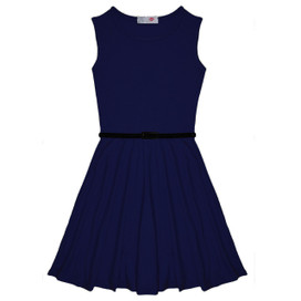 Minx Girls New Plain Fitted Flared Belt Dress Kids Plain Sleeveless Girls Skater Dress Navy Blue  Age 7-13 Years