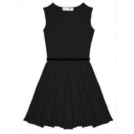 Minx Girls New Plain Fitted Flared Belt Dress Kids Plain Sleeveless Girls Skater Dress Black  Age 7-13 Years