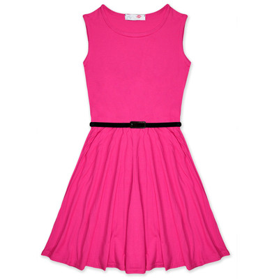 Minx Girls New Plain Fitted Flared Belt Dress Kids Plain Sleeveless Girls Skater Dress Cerise  Age 7-13 Years