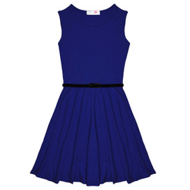 Minx Girls New Plain Fitted Flared Belt Dress Kids Plain Sleeveless Girls Skater Dress Royal Blue  Age 7-13 Years
