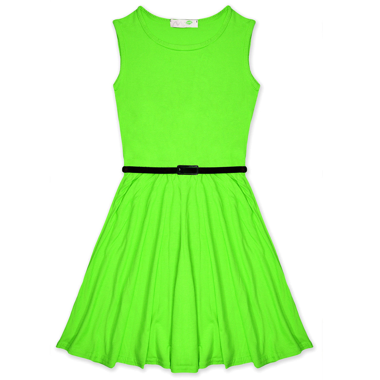 435d2411bf0e Minx Girls New Plain Fitted Flared Belt Dress Kids Plain Sleeveless Girls Skater  Dress Neon Green. Loading zoom