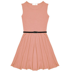 Minx Girls New Plain Fitted Flared Belt Dress Kids Plain Sleeveless Girls Skater Dress Beige  Age 7-13 Years