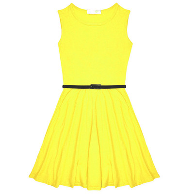 Minx Girls New Plain Fitted Flared Belt Dress Kids Plain Sleeveless Girls Skater Dress Neon Yellow  Age 7-13 Years