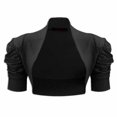 Girls Plain Colour Ruche Sleeve Bolero Shrug Black