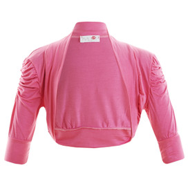 Girls Plain Colour Ruche Sleeve Bolero Shrug Cerise