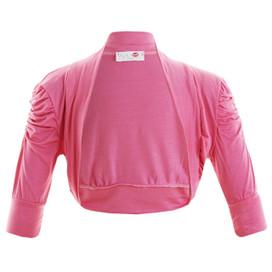 Girls Plain Colour Ruche Sleeve Bolero Shrug Cerise