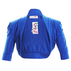 Girls Plain Colour Ruche Sleeve Bolero Shrug Blue