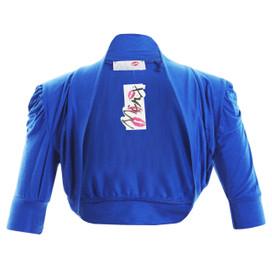 Girls Plain Colour Ruche Sleeve Bolero Shrug Blue