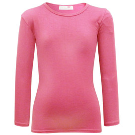 Girls Minx Plain Full Sleeve Top Cerise 5-13 Years