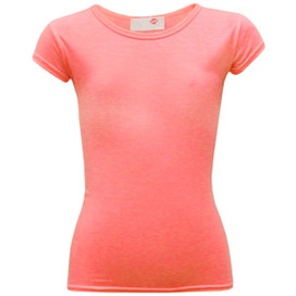 Minx Plain Neon Short Sleeve Girls Top Neon Pink 7-13 Years