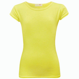 Minx Plain Neon Short Sleeve Girls Top Neon Yellow 7-13 Years