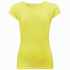 Minx Plain Neon Short Sleeve Girls Top Neon Yellow 7-13 Years