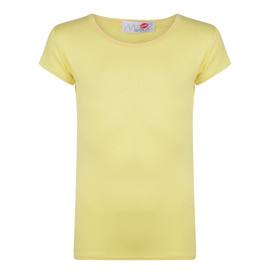 Girls Short Sleeve Plain Top Neon Yellow 7-13 Years