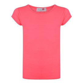 Girls Short Sleeve Plain Top Neon Pink 2-6 Years