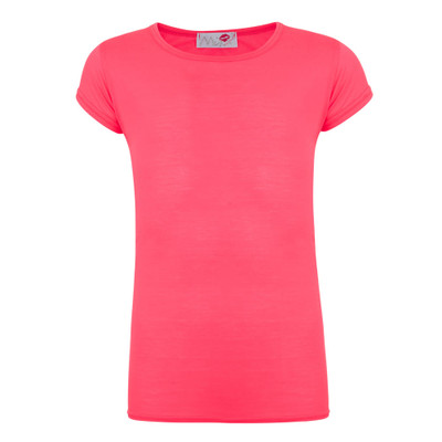 Minx Girls Plain T-Shirt Neon Pink 7-13 Years