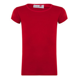Minx Girls Plain Colour Short Sleeve Top Red 2-6 Years