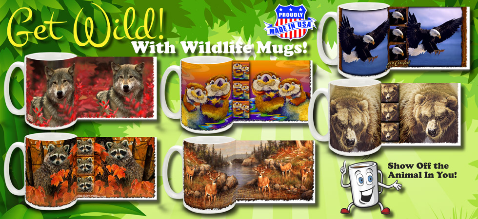 Wolf Coffee Mugs Bear Raccoon Otter Whitetail Deer Eagle Grizzly Bears Mug