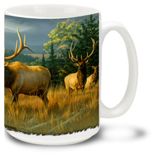 Herd of North American Elk enjoying golden sunset hues on this great Elk Mug. 15oz Elk Coffee Mug is dishwasher and microwave safe.