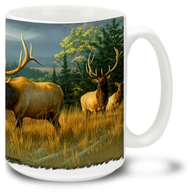 Herd of North American Elk enjoying golden sunset hues on this great Elk Mug. 15oz Elk Coffee Mug is dishwasher and microwave safe.